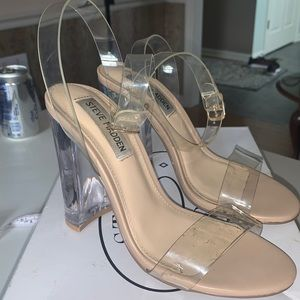 STEVE MADDEN Camille clear ankle high heels 6